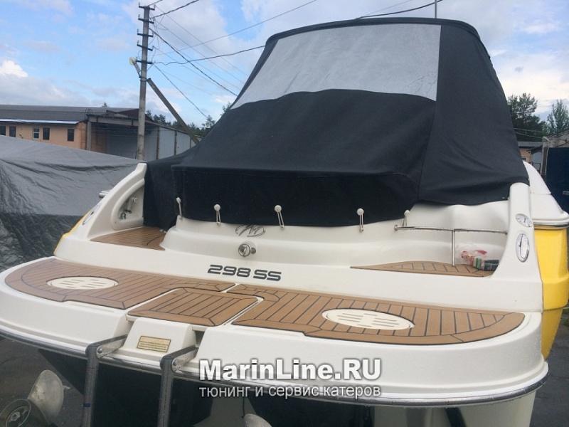 Ходовой тент на лодку и катер цена в компании «МаринЛайн». Ссылка на фотографию: http://marinline.ru/uploads/posts/2018-06/1528915620_hodovyie-tentyi-na-kater-hodovoy-tent-55.jpg