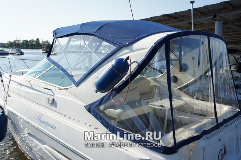 Ходовой тент на лодку и катер цена в компании «МаринЛайн». Ссылка на фотографию: http://marinline.ru/uploads/posts/2018-06/1528915623_hodovyie-tentyi-na-kater-hodovoy-tent-waz44.jpg