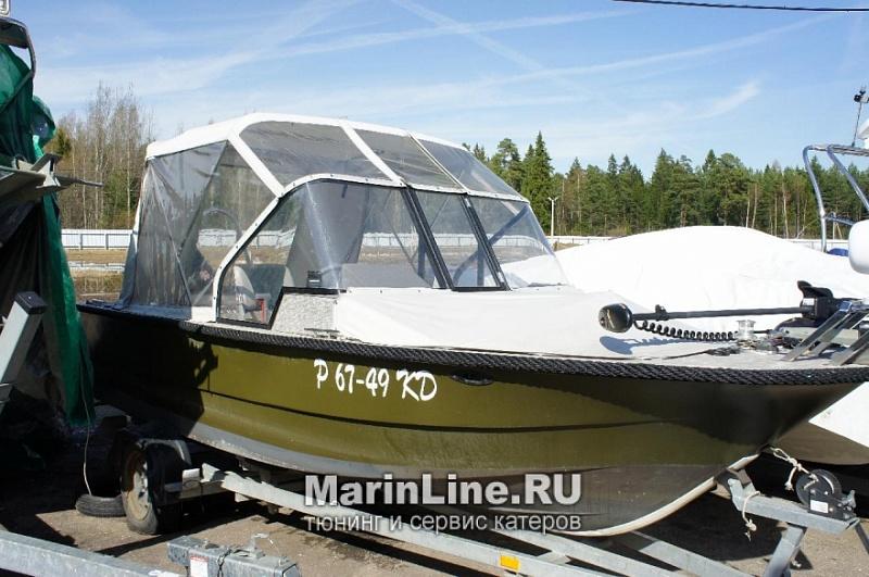Ходовой тент на лодку и катер цена в компании «МаринЛайн». Ссылка на фотографию: http://marinline.ru/uploads/posts/2018-06/1528915646_hodovyie-tentyi-na-kater-hodovoy-tent-33.jpg