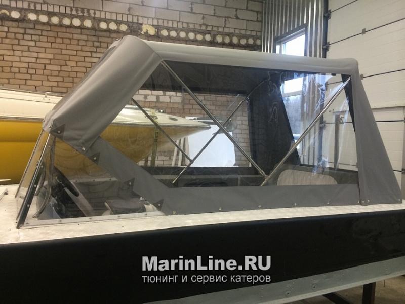 Ходовой тент на лодку и катер цена в компании «МаринЛайн». Ссылка на фотографию: http://marinline.ru/uploads/posts/2018-06/1528915650_hodovyie-tentyi-na-kater-hodovoy-tent-53.jpg