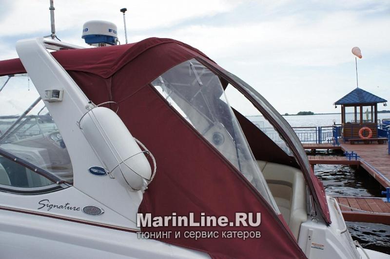 Ходовой тент на лодку и катер цена в компании «МаринЛайн». Ссылка на фотографию: http://marinline.ru/uploads/posts/2018-06/1528915655_hodovyie-tentyi-na-kater-hodovoy-tent-38.jpg