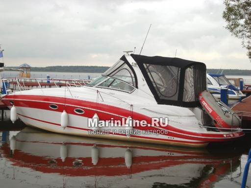 Ходовой тент на лодку и катер цена в компании «МаринЛайн». Ссылка на фотографию: http://marinline.ru/uploads/posts/2018-06/1528915662_hodovyie-tentyi-na-kater-hodovoy-tent-26.jpg