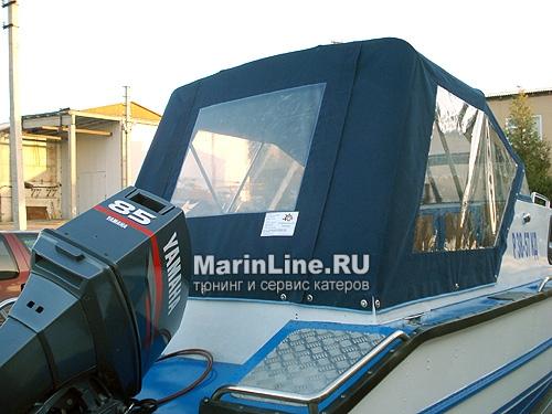 Ходовой тент на лодку и катер цена в компании «МаринЛайн». Ссылка на фотографию: http://marinline.ru/uploads/posts/2018-06/1528915665_hodovyie-tentyi-na-kater-hodovoy-tent-5.jpg