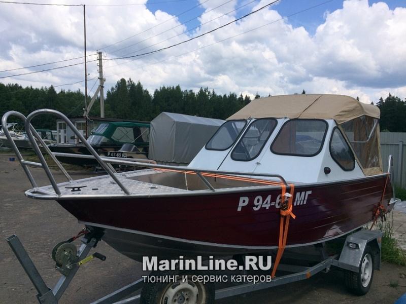 Ходовой тент на лодку и катер цена в компании «МаринЛайн». Ссылка на фотографию: http://marinline.ru/uploads/posts/2018-06/1528915690_hodovyie-tentyi-na-kater-hodovoy-tent-49o.jpg