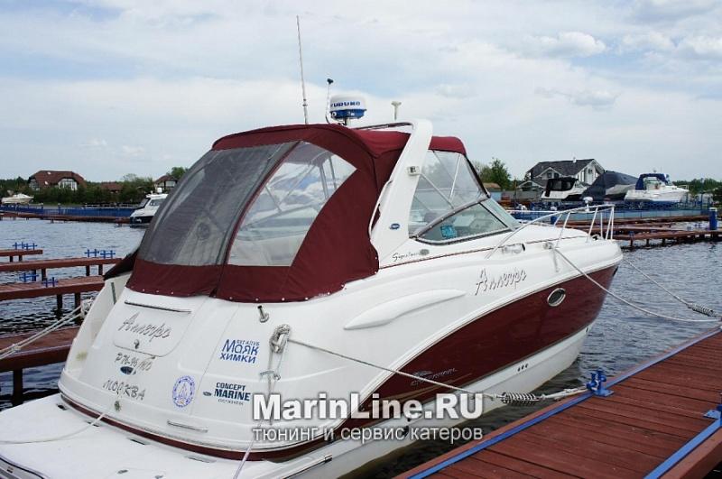 Ходовой тент на лодку и катер цена в компании «МаринЛайн». Ссылка на фотографию: http://marinline.ru/uploads/posts/2018-06/1528915691_hodovyie-tentyi-na-kater-hodovoy-tent-37.jpg