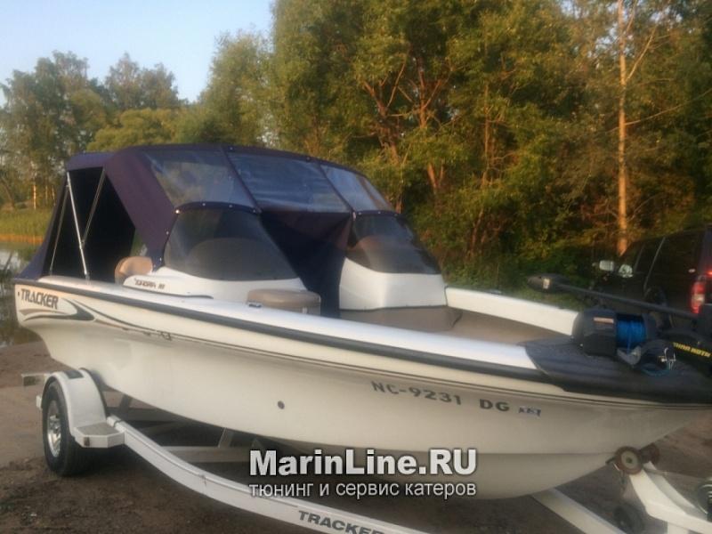 Ходовой тент на лодку и катер цена в компании «МаринЛайн». Ссылка на фотографию: http://marinline.ru/uploads/posts/2018-06/1528915691_hodovyie-tentyi-na-kater-hodovoy-tent-58.jpg