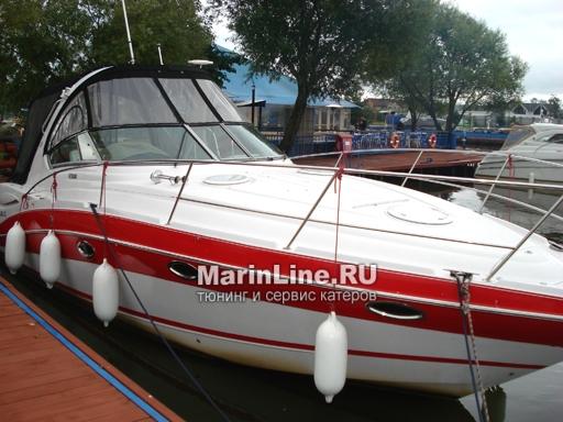 Ходовой тент на лодку и катер цена в компании «МаринЛайн». Ссылка на фотографию: http://marinline.ru/uploads/posts/2018-06/1528915692_hodovyie-tentyi-na-kater-hodovoy-tent-27.jpg