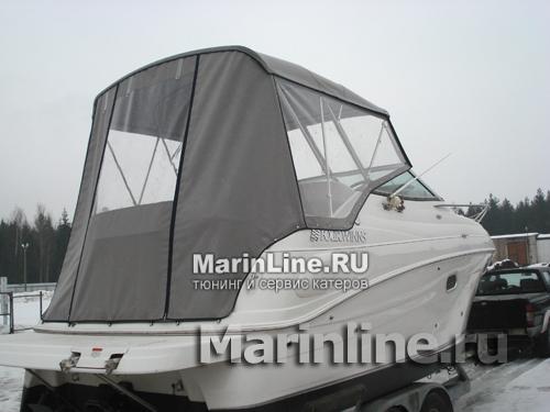 Ходовой тент на лодку и катер цена в компании «МаринЛайн». Ссылка на фотографию: http://marinline.ru/uploads/posts/2018-06/1528915694_hodovyie-tentyi-na-kater-hodovoy-tent-13.jpg