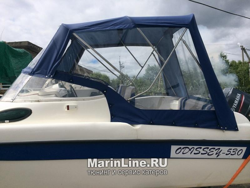 Ходовой тент на лодку и катер цена в компании «МаринЛайн». Ссылка на фотографию: http://marinline.ru/uploads/posts/2018-06/1528915696_hodovyie-tentyi-na-kater-hodovoy-tent-51.jpg