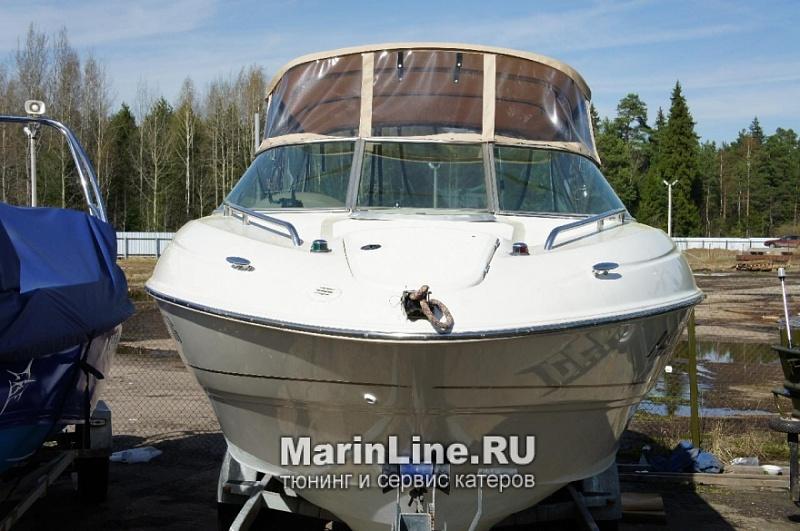 Ходовой тент на лодку и катер цена в компании «МаринЛайн». Ссылка на фотографию: http://marinline.ru/uploads/posts/2018-06/1528915703_hodovyie-tentyi-na-kater-hodovoy-tent-32.jpg