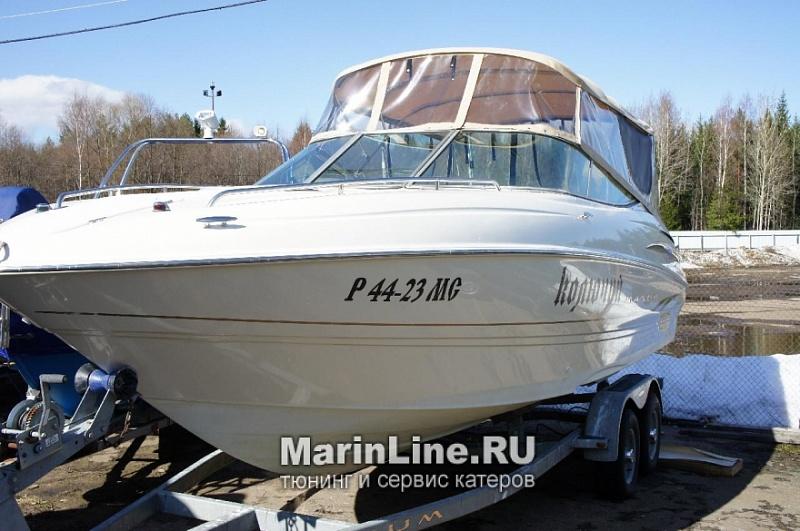 Ходовой тент на лодку и катер цена в компании «МаринЛайн». Ссылка на фотографию: http://marinline.ru/uploads/posts/2018-06/1528915716_hodovyie-tentyi-na-kater-hodovoy-tent-30.jpg