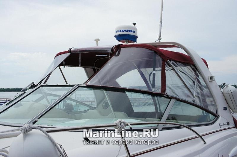 Ходовой тент на лодку и катер цена в компании «МаринЛайн». Ссылка на фотографию: http://marinline.ru/uploads/posts/2018-06/1528915716_hodovyie-tentyi-na-kater-hodovoy-tent-39.jpg