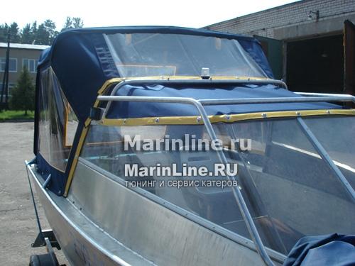 Ходовой тент на лодку и катер цена в компании «МаринЛайн». Ссылка на фотографию: http://marinline.ru/uploads/posts/2018-06/1528915723_hodovyie-tentyi-na-kater-hodovoy-tent-11.jpg