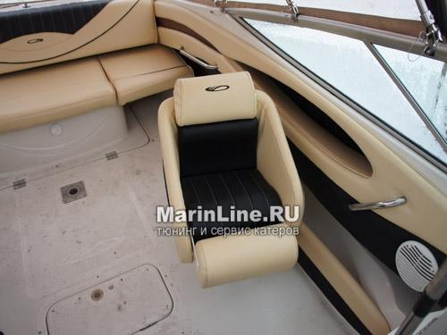 Перетяжка салона катера - отделка интерьера катера цена в компании «МаринЛайн». Ссылка на фотографию: http://marinline.ru/uploads/posts/2018-08/1534156120_otdelka-salona-katera9.jpg