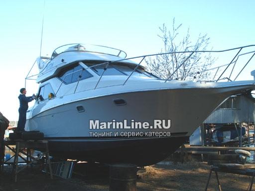 Полировка катера цена в компании «МаринЛайн». Ссылка на фотографию: http://marinline.ru/uploads/posts/2018-08/1534157020_polirovka-katerov-2.jpg